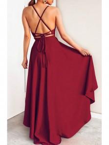 Gorgeous A Line V Neck Cross Back Burgundy High Low Prom Dresses, Elegant Evening Party Dresses PD0917004