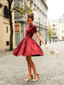Cute A Line Round Neck Cap Sleeves Burgudny Short Homecoming Dresses, Elegant Evening Dresses
