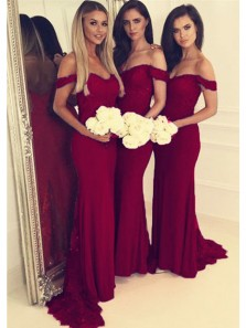 Charming Mermaid Off the Shoulder Burgundy Lace Long Bridesmaid Dresses
