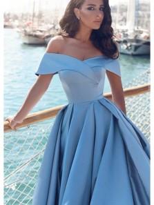 Gorgeous Ball Gown Off the Shoulder Satin Split Blue Long Prom Dresses, Elegant Princess Dresses PD0917005