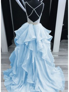 Gorgeous Ball Gown V Neck Spaghetti Straps Cross Back Light Blue Long Prom Dresses with Beading, Quinceanera Dresses PD0917008