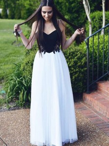 Cute A Line Sweetheart Spaghetti Straps White and Black Long Prom Dresses with Lace, Elegant Evening Dresses