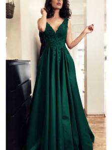 Charming A Line V Neck Open Back Satin Dark Green Lace Long Prom Dresses with Appliques, Elegant Evening Dresses