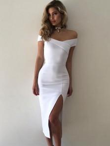 Charming Bodycon Off the Shoulder Split White Tea Length Long Prom Dresses, Elegant Evening Dresses