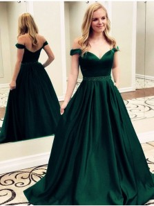 Gorgeous Ball Gown Off the Shoulder Backless Satin Dark Green Long Prom Dresses Beading, Formal Evening Dresses PD0918008