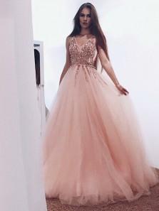 Gorgeous Ball Gown V Neck Open Back Peach Beaded Long Prom Dresses, Elegant Evening Dresses