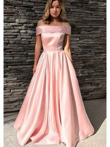 Gorgeous Ball Gown Off the Shoulder Satin Peach Long Prom Dresses with Pockets, Elegant Princess Dresses