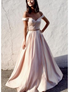 Gorgeous Ball Gown Off the Shoulder Long Prom Dresses with Beading, Elegant Evening Dresses PD0918011