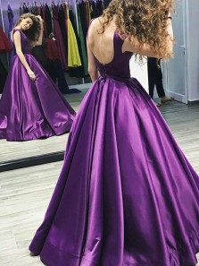 Gorgeous Ball Gown Round Neck Backless Satin Violet Long Prom Dresses, Elegant Evening Dresses