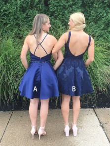 Simple A Line Square Cross Back Navy Short Homecoming Dresses, Short Party Dresses HD0919002