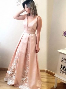 Gorgeous Ball Gown V Neck Open Back Peach Lace Long Prom Dresses with Appliques, Elegant Evening Dresses