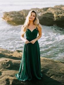Charming V Neck Open Back Spaghetti Straps Chiffon Dark Green Long Prom Dresses, Formal Evening Dresses