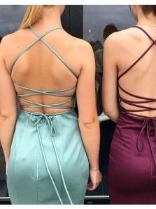 Charming Mermaid V Neck Spaghetti Straps Criss Cross Split Long Prom Dresses, Formal Evening Dresses