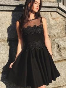Cute A Line Round Neck Black Lace Short Homecoming Dresses, Little Black Dresses, Short Party Dresses