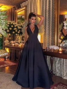 Gorgeous Ball Gown V Neck Open Back Black Long Prom Dresses with Bow, Formal Evening Dresses PD0920001