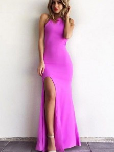 Charming Mermaid Round Neck Backless Fuchsia Elastic Satin Split Long Prom Dresses, Formal Evening Dresses
