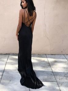 Charming Mermaid V Neck Cross Back Black Long Prom Dresses, Formal Evening Dresses