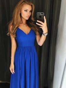 Simple A Line V Neck Spaghetti Straps Royal Blue Long Prom Dresses, Formal Evening Dresses