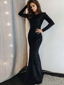 Gorgeous Mermaid Round Neck Backless Long Sleeves Sequins Long Prom Dresses, Formal Evening Dresses