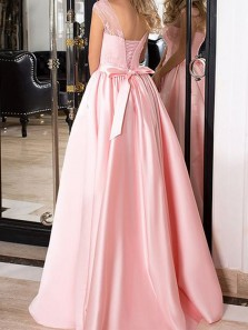 Gorgeous Ball Gown Round Neck Open Back Pink Lace Long Prom Dresses, Formal Evening Dresses with Bow PD0920009