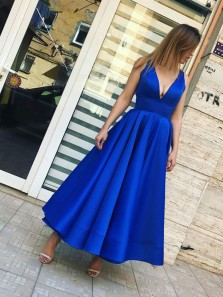 Charming A Line V Neck Open Back Satin Royal Blue Tea Length Long Prom Dresses, Formal Short Party Dresses