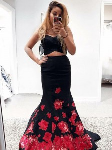 Gorgeous Mermaid Two Piece Sweetheart Print Floral Dark Red Long Prom Dresses, Formal Evening Dresses