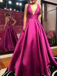 Gorgeous Ball Gown V Neck Satin Fuchsia Pleats Long Prom Dresses with Bow, Elegant Evening Dresses