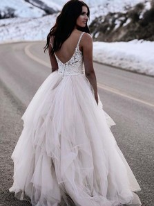 Formal Ball Gown V Neck Open Back Ivory Lace Long Wedding Dresses