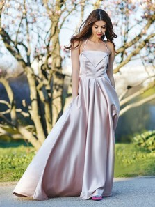 Unique A Line Spaghetti Straps Champagne Long Prom Dresses, Formal Evening Dresses