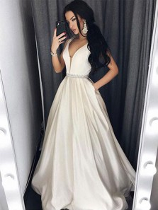 Gorgeous Ball Gown V Neck Satin Ivory Long Prom Dresses with Beading, Formal Evening Dresses PD0921005