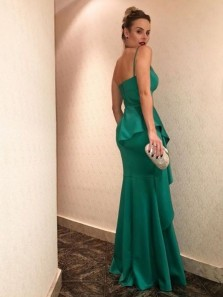Charming Mermaid V Neck Spaghetti Straps Ruffled Green Long Prom Dresses, Elegant Evening Party Dresses