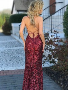 Gorgeous Mermaid Spaghetti Straps Backless Burgundy Sequins Long Prom Dresses, Sexy Evening Dresses