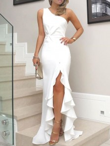 Chamring Mermaid One Shoulder Ruffled White Long Prom Dresses, Formal Party Evening Dresses