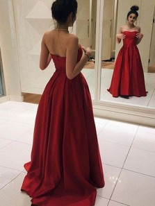 Gorgeous Ball Gown Sweetheart Red Satin Long Prom Dresses, Formal Evening Dresses