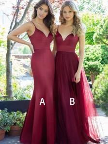 Charming Mermaid V Neck Spaghetti Straps Dark Red Long Bridesmaid Dresses
