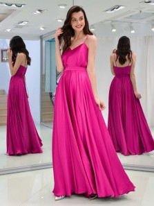 Charming A Line Sweetheart Spaghetti Straps Satin Fuchsia Long Prom Dresses, Formal Evening Party Dresses