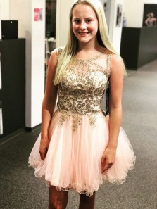 Cute A Line Round Neck Open Back Pink and Gold Lace Short Homecoming Dresses, Short Prom Dresses with Beaded