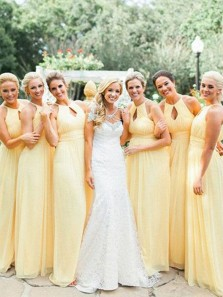 Elegant Sheath Round Neck Yellow Chiffon Long Bridesmaid Dresses Under 100