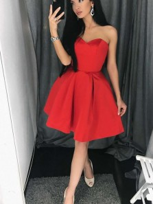 Cute A Line Sweetheart Open Back Red Pleats Short Homecoming Dresses, Short Prom Dresses Under 100