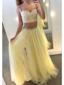 Charming Two Piece Sweetheart Spaghetti Straps Straps Yellow Lace Long Prom Dresses with Beading, Formal Evening Dresses PD0925003
