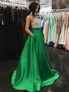 Gorgeous Ball Gown Halter Open Back Green Beaded Long Prom Dresses, Formal Elegant Evening Dresses