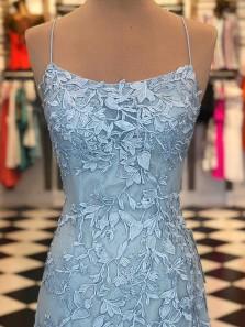 Gorgeous Mermaid Spaghetti Straps Criss Cross Light Blue Lace Long Prom Dresses, Formal Evening Dresses PD0925010