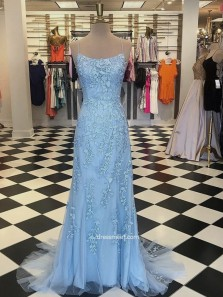 Gorgeous Mermaid Spaghetti Straps Criss Cross Light Blue Lace Long Prom Dresses, Formal Evening Dresses PD0925010