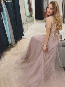 Gorgeous A Line Round Neck Blush Lace Long Prom Dresses with Peals, Formal Evening Dresses PD0927001