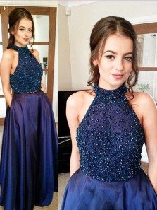 Charming A Line Two Piece Round Neck Navy Blue Long Prom Dresses with Beading, Elegant Evening Dresses