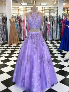 Gorgeous Ball Gown Two Piece Round Neck Lavender Lace Long Prom Dresses with Beading, Formal Evening Dresses