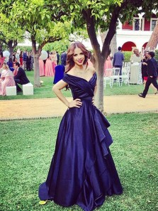 Gorgeous Ball Gown Off the Shoulder Navy Organza Long Prom Dresses, Formal Evening Dresses PD0927004