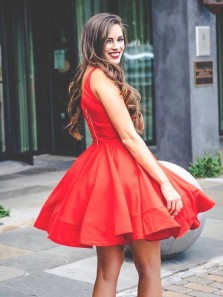 Cute A Line V Neck Open Back Satin Red Short Homecoming Dresses, Simple Short Prom Dresses Under 100 HD0927001
