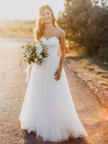 Fairy A Line Sweetheart Open Back White Lace Long Wedding Dresses
