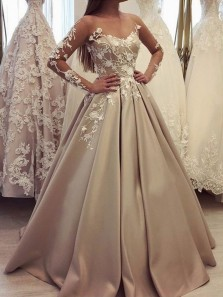 Gorgeous Ball Gown Scoop Long Sleeves Lace Champagne Long Prom Dresses, Quinceanera Dresses PD0927007